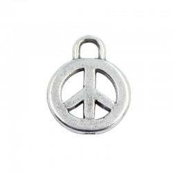 Charm símbolo de la paz de zamak y plata