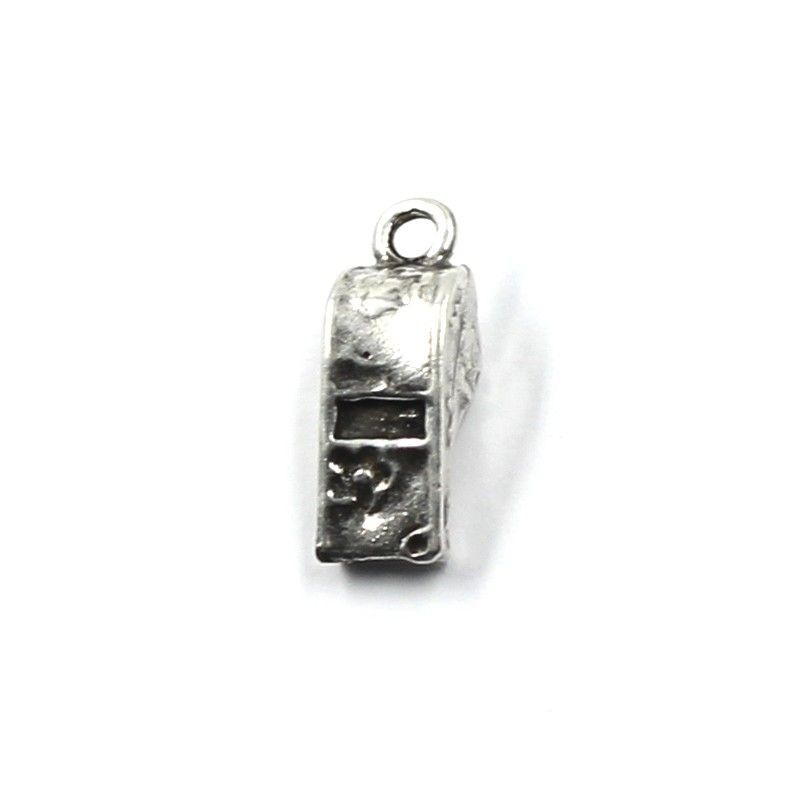 Charm whistle of zamak and silver