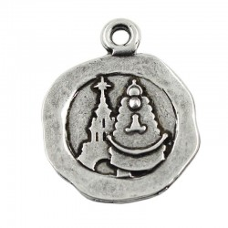 Pendant silhouette Virgen del Rocio of zamak and silver