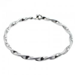 Bracelet rigide de la tresse de 3mm. en laiton et d'argent