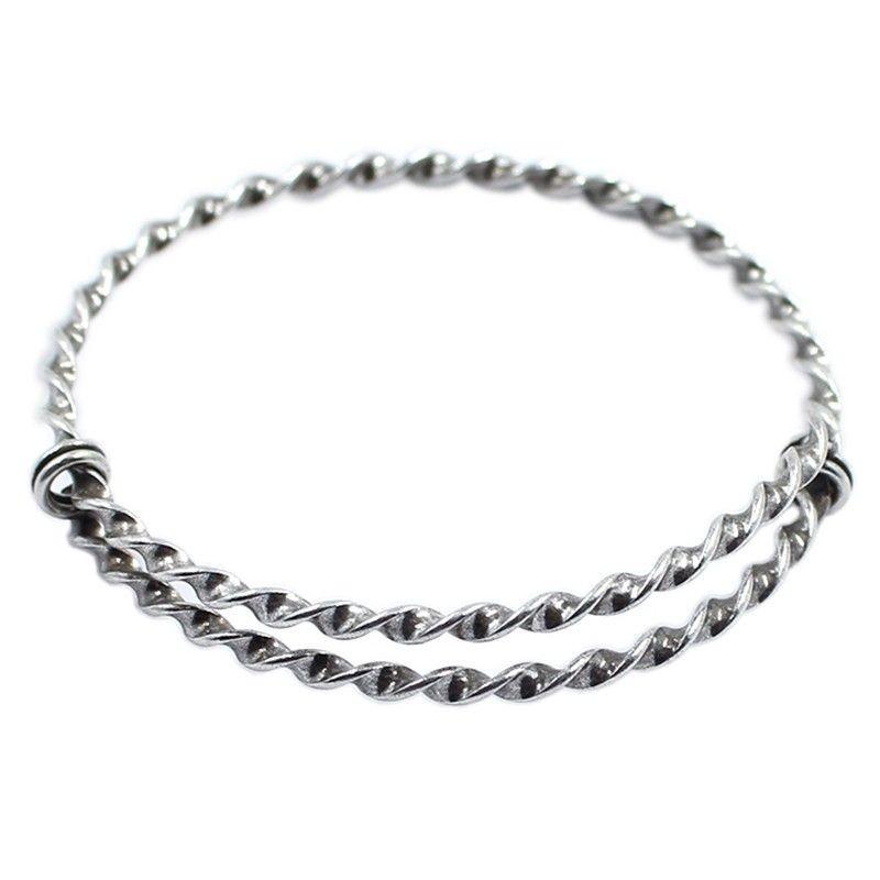 Bracelet rigide réglable tresse faite de laiton et argent vieilli