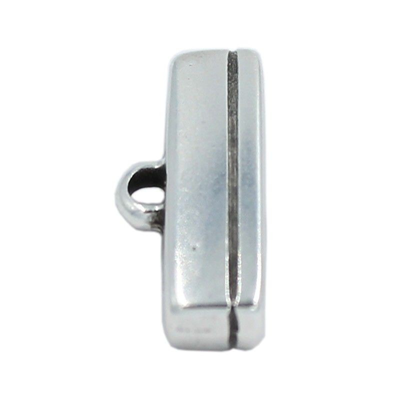 Terminal for leather flat 20mm. zamak and silver