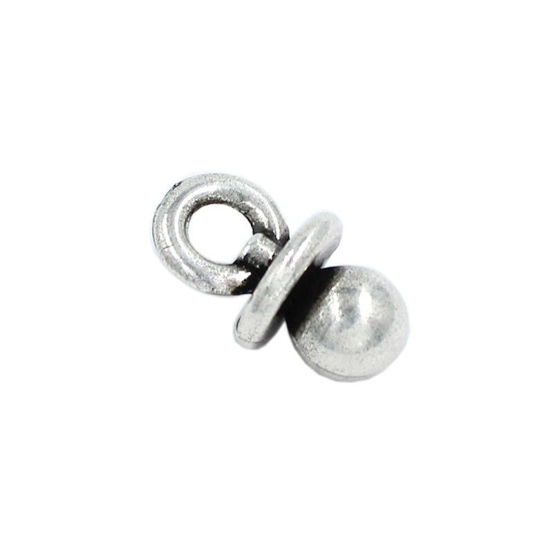 Charm pacifier round of zamak and silver
