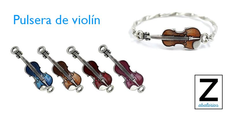 Pulsera de violín hecha de zamak y esmalte