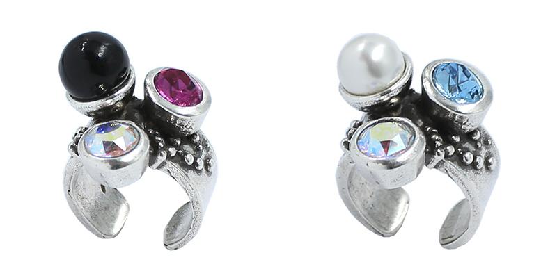Anillos con perla y cristal Swarovski